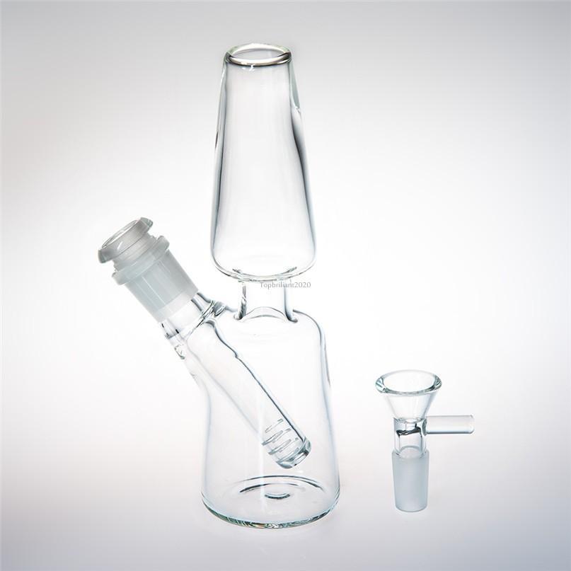 18 cm de vidro de vidro alto de vidro de vidro Dab Rig Alcance Downstem 14mm tigela de vidro espessa reciclador beaker bong claro para água fumando fy2308
