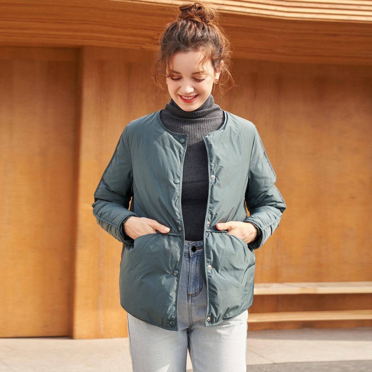 Chen Cai White Duck down Stitching Symmetrical Fashion 20 Winter New Korean Versatile Short Type Warm Womens down Jacket
