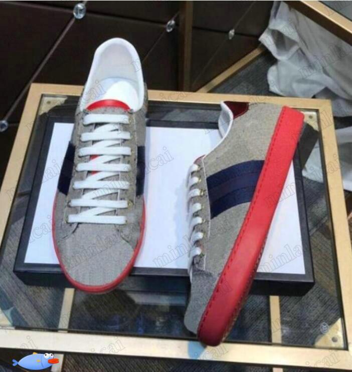 GUCCI Ass bestickte Niedrige Schuhe Leder-Screener-Tiger-Biene-Schlange Katze grüne rote Streifen Italien Marke White Sneakers Herren Designer Trainer Womens Casual Shoe