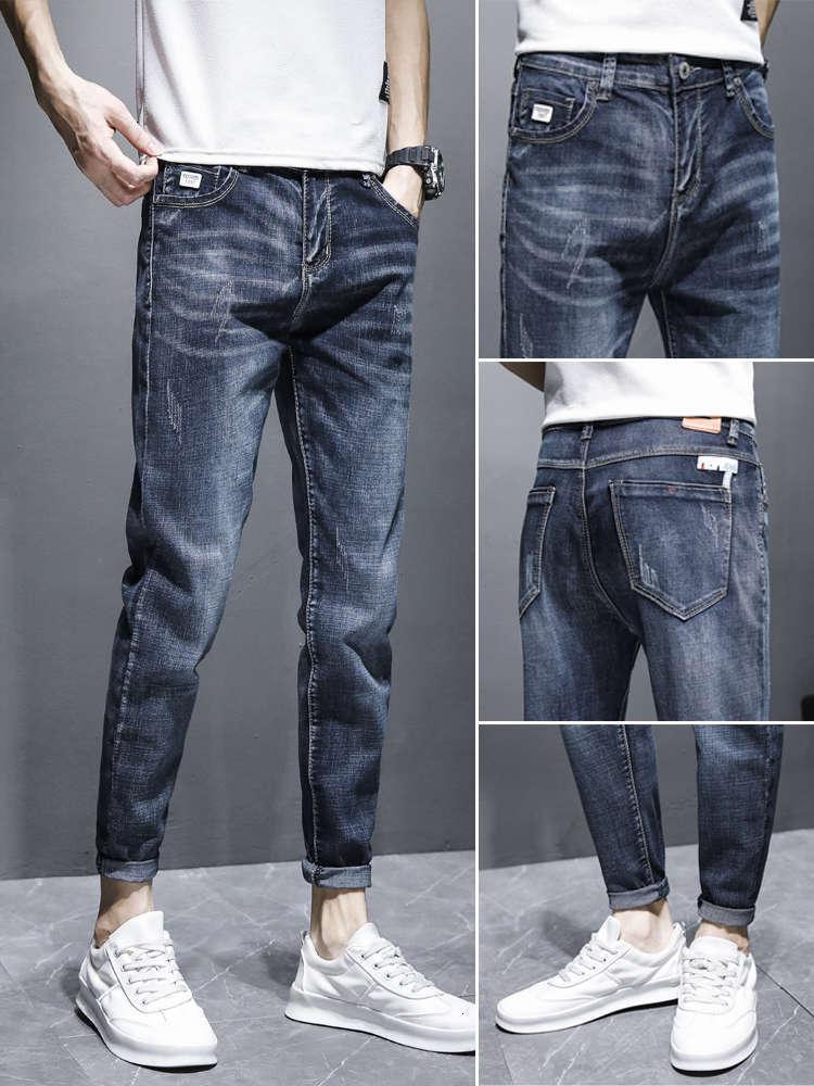 Männer Jeans Frühling dünne beiläufige dünne und vielseitige kleine Fuß elastische 9-Punkt-Hosen YD38