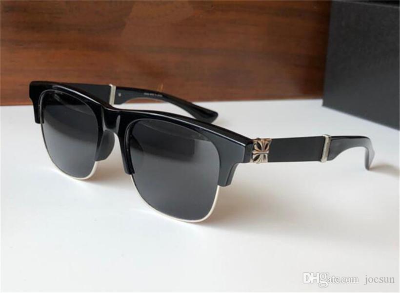 Vintage Punk Design Sunglasses Balta Retro Placa Quadrada Semi-Rimless Simples e Versátil Estilo UV400 Óculos Protetores De Qualidade