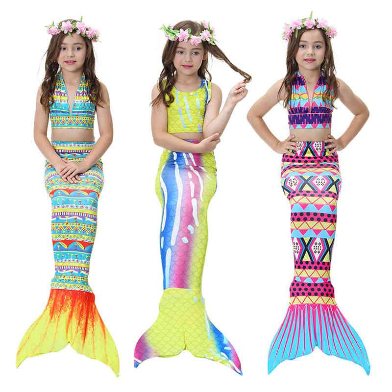Melario Girls Clothing Sets New Summer Little Mermaid Tail Bikini Suits Swim Costume Clothing Sets 3Pcs For 3 12Y 210412