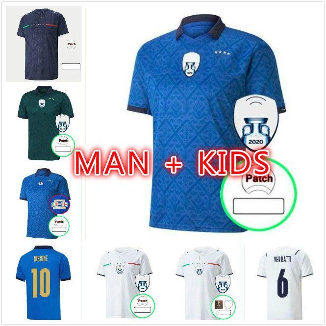 MAN KIDS KIT 2021 Spielerversion Italien Fussball Jersey Startseite Barella Sensi Insignente Italia Away White Third Chiellini Belotti Maillot de Foot