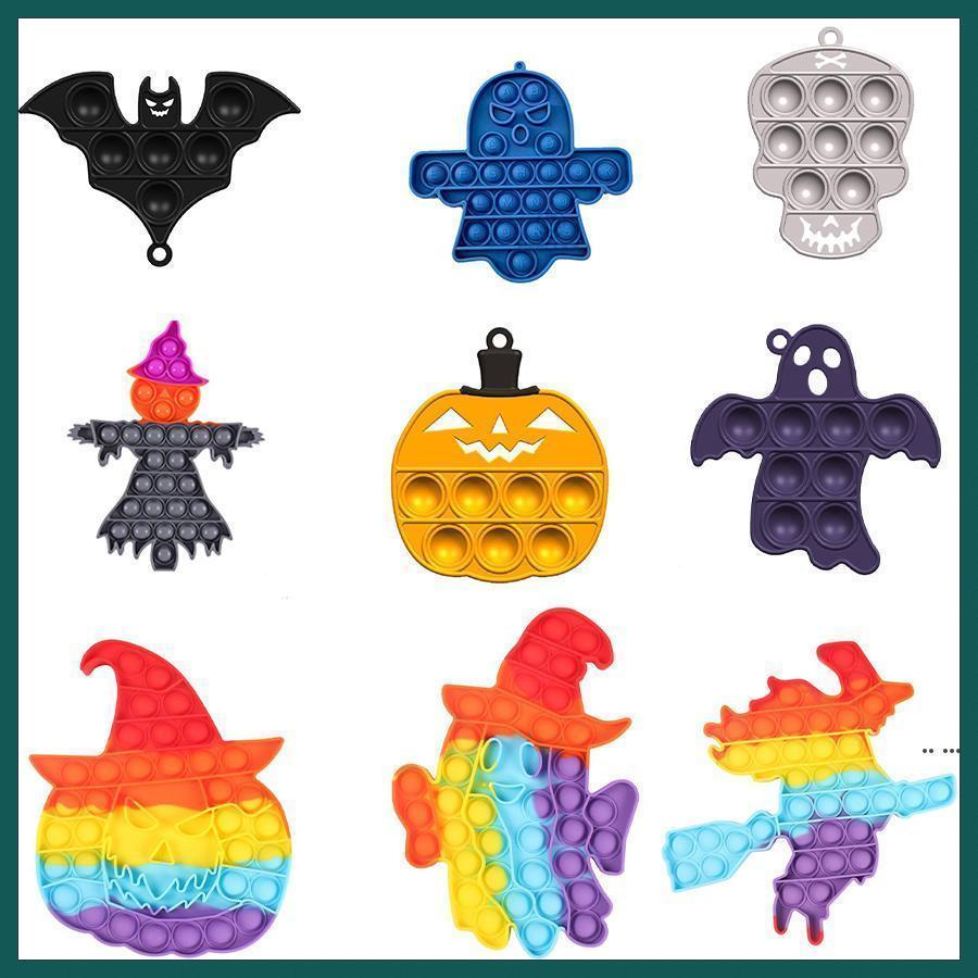 Fidget Toy Party Favore Ultime Rainbow Halloween Ghost Shaped Push Bubble Silicone Decompressione Dimple Sensory Toys Gifts per bambini 591