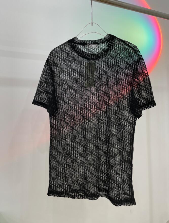 2021 Designer Mens Womens See-through T-shirt Lace Letters Man Paris Moda T-Shirt Top Quality Tees Street Manica Corta Luxurys Tshirts Bianco nero 05