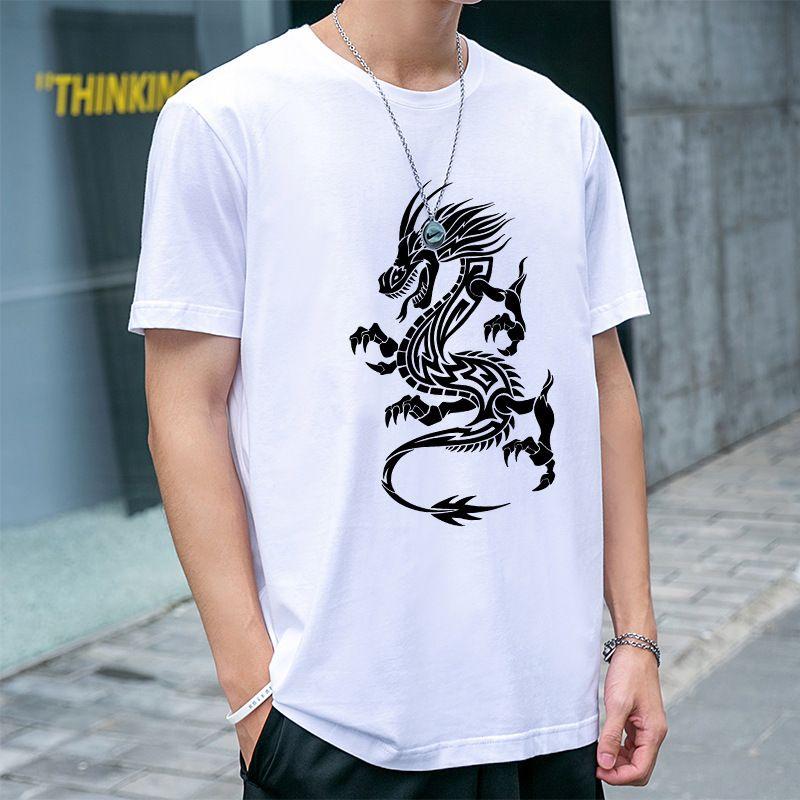 Guochao Collection of Chinese Dragon Design Estate in cotone manica corta sciolta casual casual a metà manica creata Trend T-S