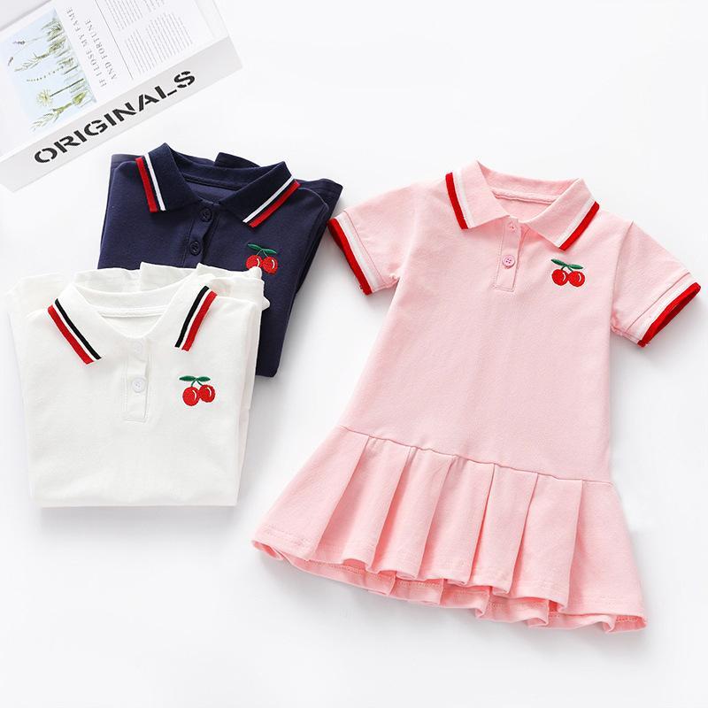 小売/卸売夏の赤ちゃん女の子チェリー刺繍ブラウスドレス子供の女の子フリルコットンパーティープリンセスドレス子供ブティック服
