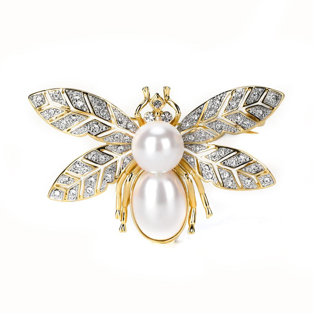 Varole Brooch For Women Bee shaped brooch with big Pearl Crystal Rhinestone unique 18K gold plated brooches