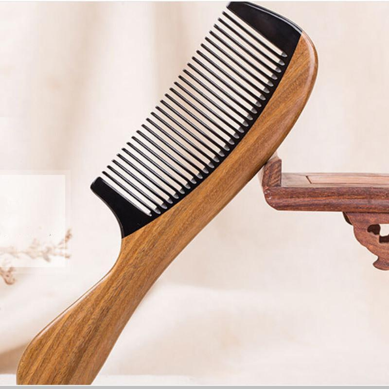 Hair Brushes 1Pcs Natural Green Sandalwood Ox Horn Wood Anti Static Beard Comb Care Handle