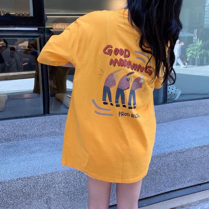 T-shirt à manches courtes d'été Femme 2021 Nouveau Coréen lâche Student Girl de style demi-manche T-shirt à manches grandes pour femmes