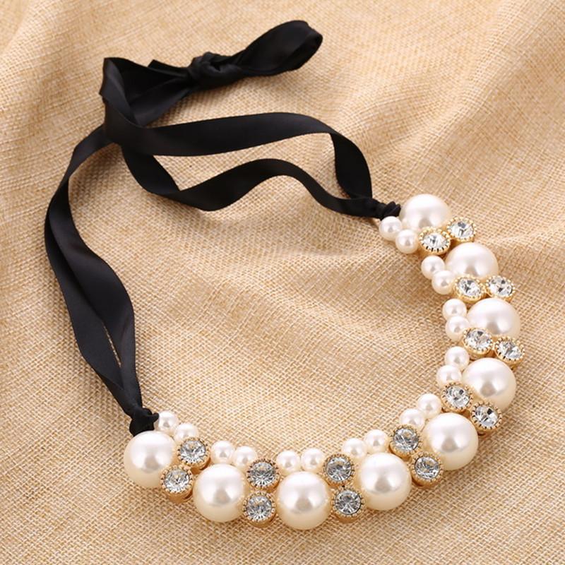 Simulierte Perle Halsketten Engagement Schmuck Schwarze Ribbon Chokers Halskette Aussage Halsbänder Für Frauen Hochzeitsgeschenk