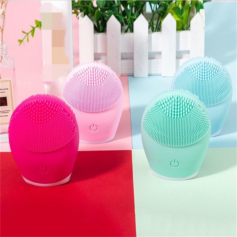 Ultraschall-Silikon-elektrische Gesichtsreinigungsbürste Sonic-Gesichtsreiniger Reinigungshaut Mini Waschmassagerbürste wiederaufladbar 948 R2