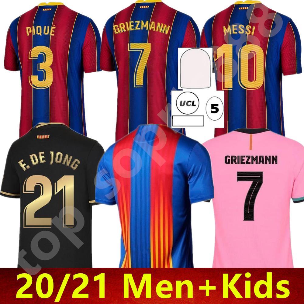 20 21 Barcelona Soccer Jerseys Barca Messi Griezmann Camiseta de Futbol Ansu Fati 2021 Fde Jong Maillots Camisa de Fútbol Hombres Kitjersey