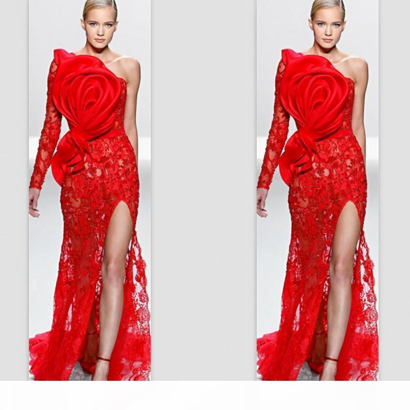 Evening Gowns One Shoulder Single Sleeve Red Lace Big Bow Applique Front Split Customize Prom Celebrity Dresses