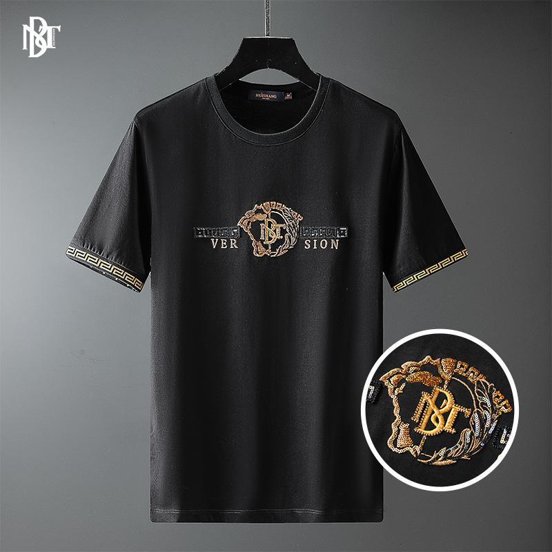 Erkek T-Shirt Huashang Giyim - 2021 Bahar ve Yaz İngiliz Tarzı T-Shirt Altın Mektup Boncuk Nakış Kısa SVE