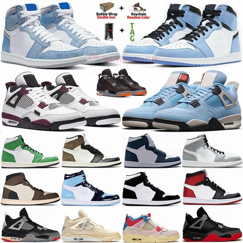 С коробкой Jumpman 1 Баскетбольные туфли Университет Синий Трэвис Скоттс Hyper Royal 1s Мужские кроссовки 4 4S парус