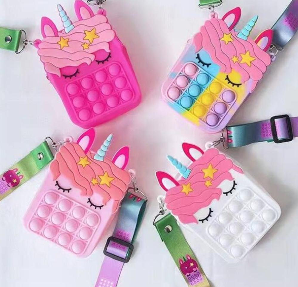 Fidget giocattoli Sensory Fashion Bag Bambino Push Bubble Rainbow Anti stress Bambini educativi e adulti Giocattoli decompressione FY2915