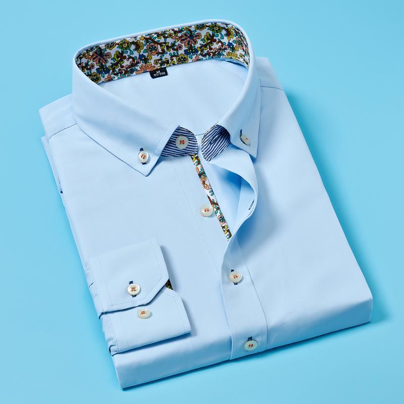 Homens camisa manga comprida negócio casual slim floral tamanho grande moda vestido de jovens de alta qualidade camisas masculinas