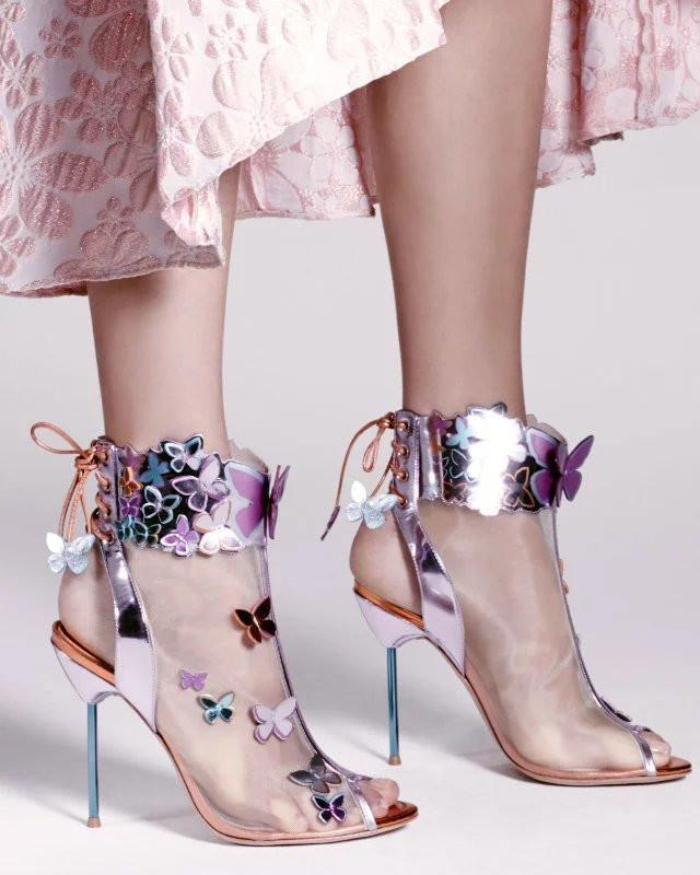 Sandalia Feminina Summer Butterfly Sequin Gladiator Sandals Ladies Woman Mesh High Heels Open Toe Designer Runway Stiletto 2021