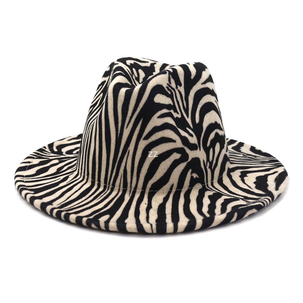 Мода Zebra Pattern искусственная шерсть войлока Федора шляпы мода женщины мужчины большие краевые джазовые вечеринки Cap Panama стиль ковбойская шляпа HWF9955