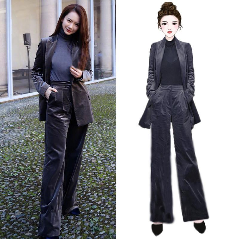 Women's Suits & Blazers Suit 2 Piece Set Star With Gray Double-breasted Velvet Casual Trousers Business Professional