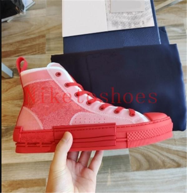 19SS B23 Yüksek-üst Sneaker Kırmızı Kadın Ayakkabı Eğik Tuval Şeffaf Panel ile Teknik Dantel-Up Erkek Klasik Rahat Ayakkabı