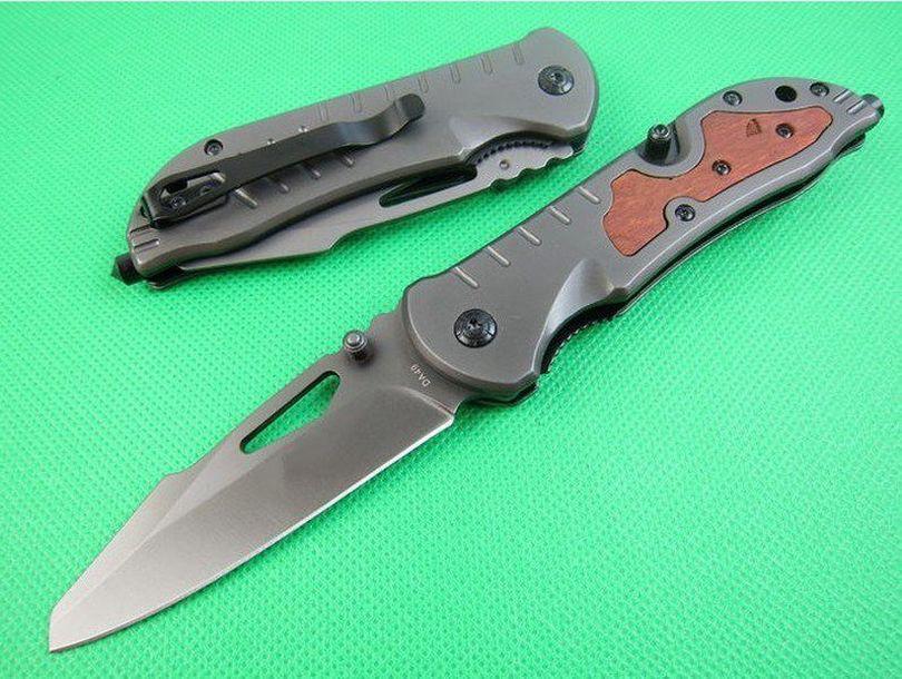 Borboleta na faca da49 3cr13 lâmina de aço + punho de madeira tático resgate bolso faca dobrável faca de caça ferramenta de sobrevivência edc 0696