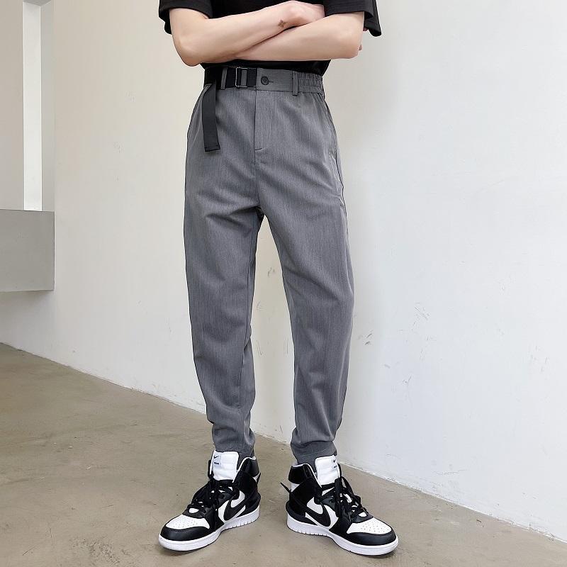 Calças dos homens Cinto de verão Casual Moda Slim Cinza Terno Preto Homens Streetwear Coreano Vestido Reto Mens Calças M-XL