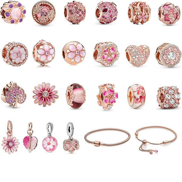 Magnolia Bracelet 925 Silver Charm Accessories Bracelets Peach Flower Pendant Bangle Charms Magnoliaeflora Beads as Gift Diy Wedding Jewelry