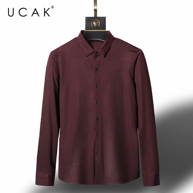 브랜드 패션 셔츠 남성 옷 봄 탑스 비즈니스 캐주얼 격자 무늬 턴 다운 칼라 긴 소매 옴므 U6138 남자 셔츠