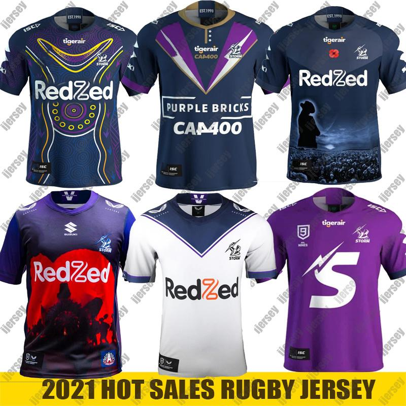 2021 2021 MELBOURNE STORM Rugby Jersey ANZAC Home Away Jersey 2020 ...