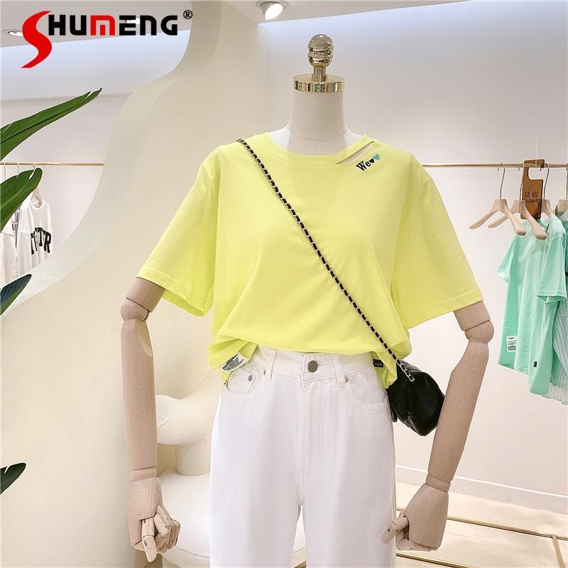 Estate stile coreano sciolto plus size lettera lettera ricamo ladies top tee dimagrante manica corta moda donna t-shirt donna