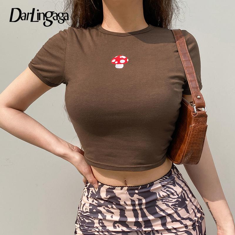 Darlingaga Vintage Y2K Brown Top Bodycon Summer T Shirt Women Mushroom Embroidery Harajuku Crop Tops Tees Kawaii 2000s Aesthetic Women's T-S
