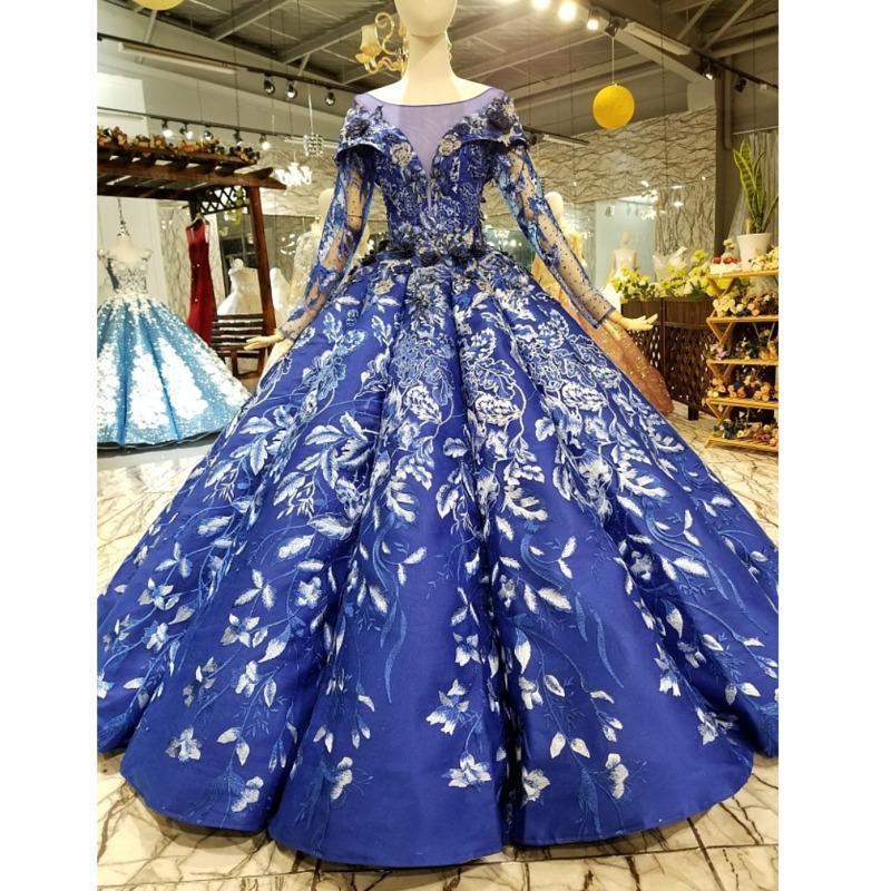 31116HT 로얄 블루 공 가운 이브닝 드레스 긴 얇은 명주 그물 슬리브 O 넥 플라워 플로어 길이 여성 경우 중국 도매 파티 드레스