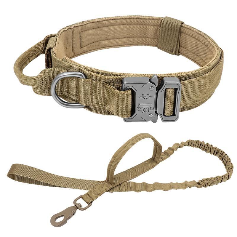 Military Army Dog Collar Guinzaglio regolabile Collari tattici Collari di controllo Maniglia per la caccia Animali domestici Accessori Medium Grandi Cappelli all'aperto Razza