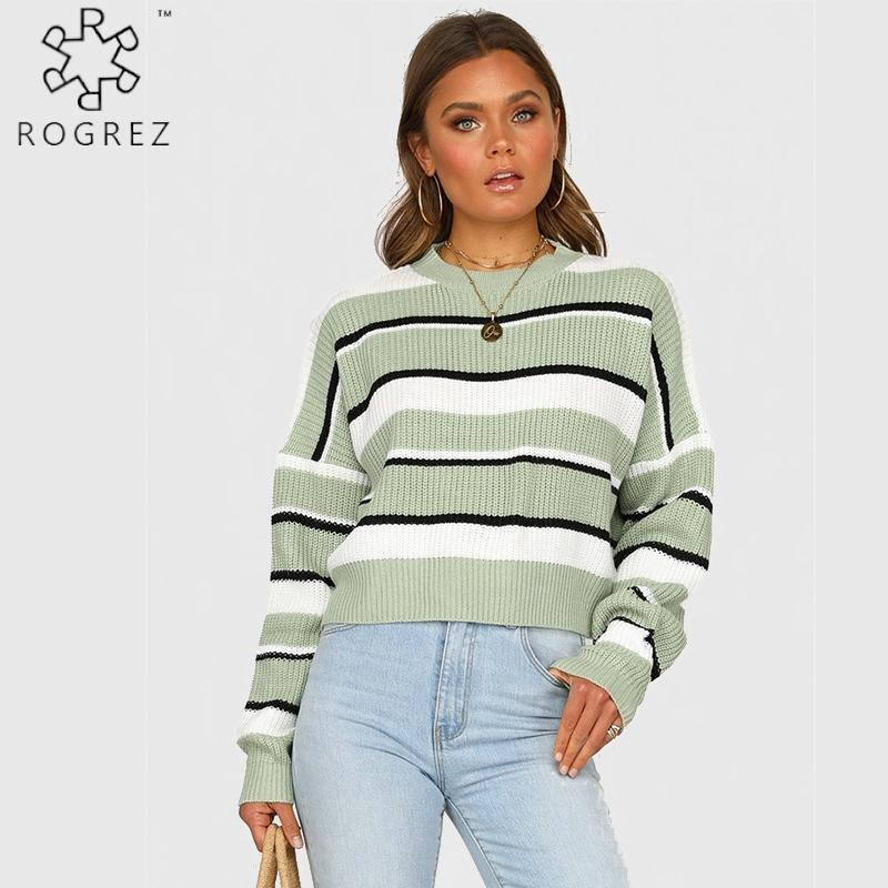Frauenpullover Rogrez Beiläufige gestreifte Lose Winter O Neck Pullover Frauen Büro Outdoor Streetwear Pullover