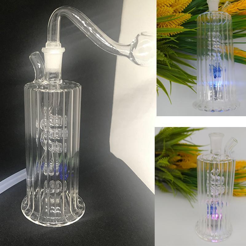"""Spiral Recycler Dab Rig LED Işık Cam Bongs Su Boruları 10mm Ortak Su Bong 4.5 """"Inç Mini Oil Kulesi Banger ve 20"""" Hortum Parlayan Teçhizat Nargile"""