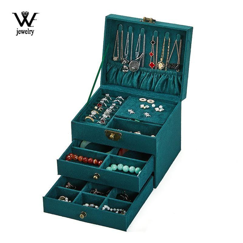 Schmuckbeutel, Taschen We Three-Layer Portable Green Box mit Retro-Lock-Organizer-Speicher-Ohrring-Halskette-Anzeige für Frauen-Geschenke