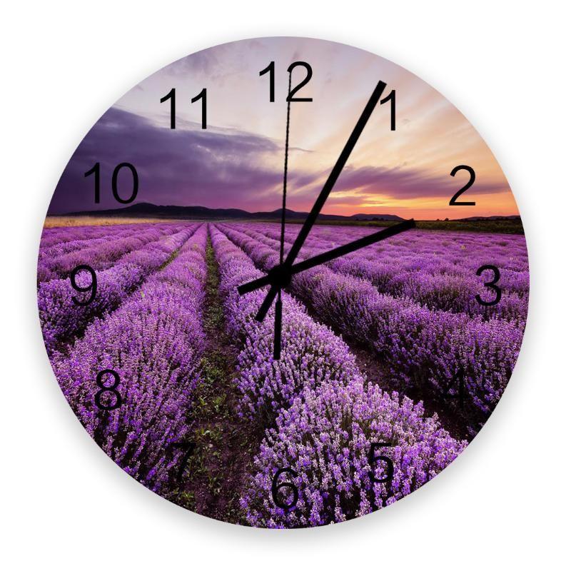 Настенные часы 30 см Часы Лаванда Сансет Фиолетовый Цветочный Поле Главная Тихий Тихий Тихий Простой Немой Декоративная гостиная Часы