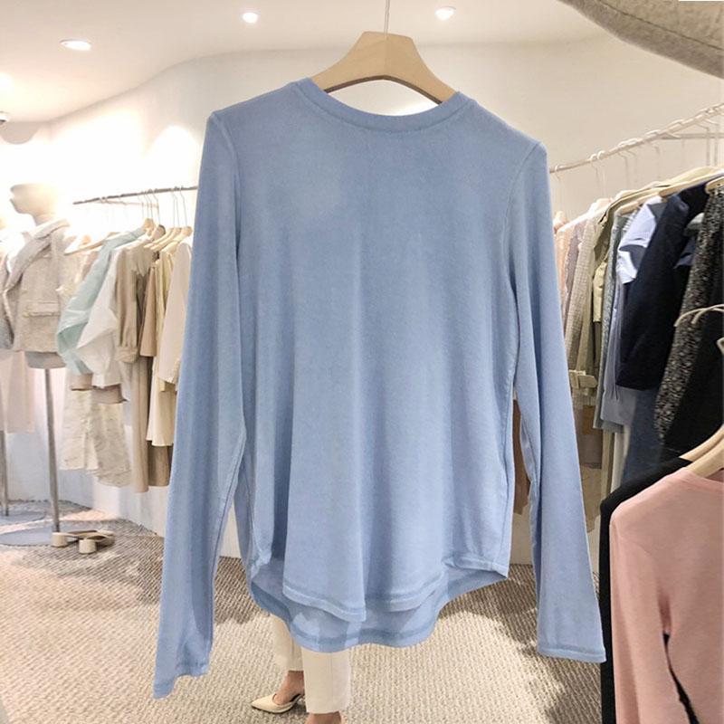 T-shirt a manica lunga a maniche lunghe sciolte in stile coreano stile coreano semplice tutto partita magliette moda morbide casual elastici da donna elastici