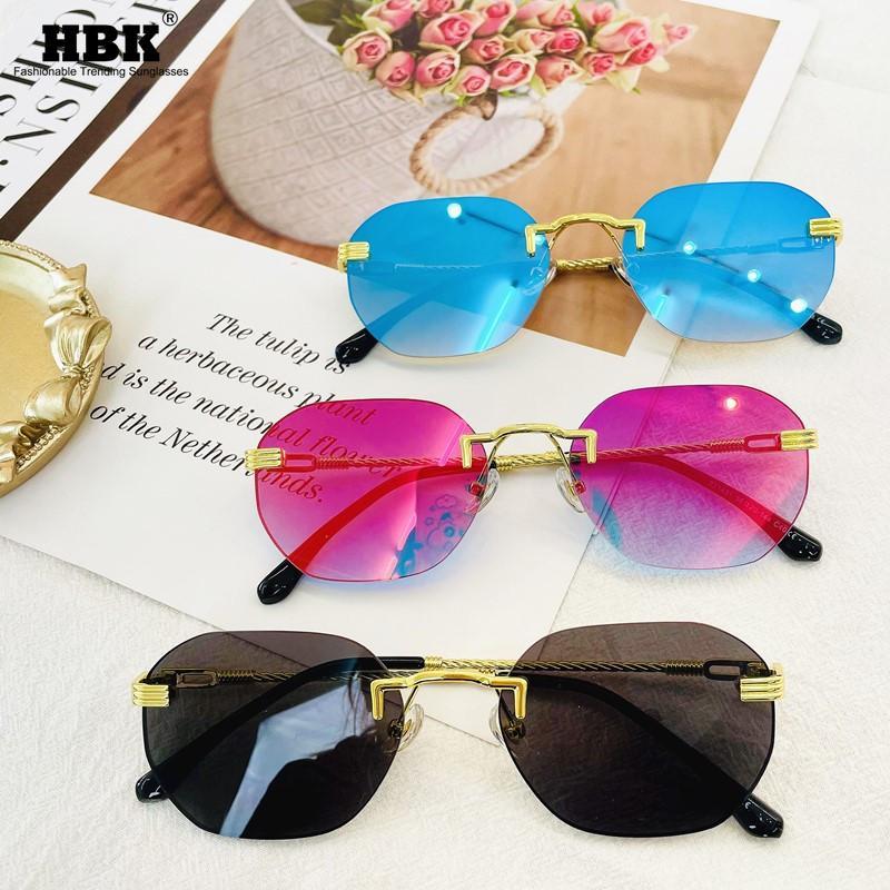 Kare Çerçevesiz Güneş Kadınlar Kadın Moda 2021 Lüks Kırmızı Ayna Lens Metal Çerçeve Vintage Poligon Çerçevesiz Güneş Gözlükleri