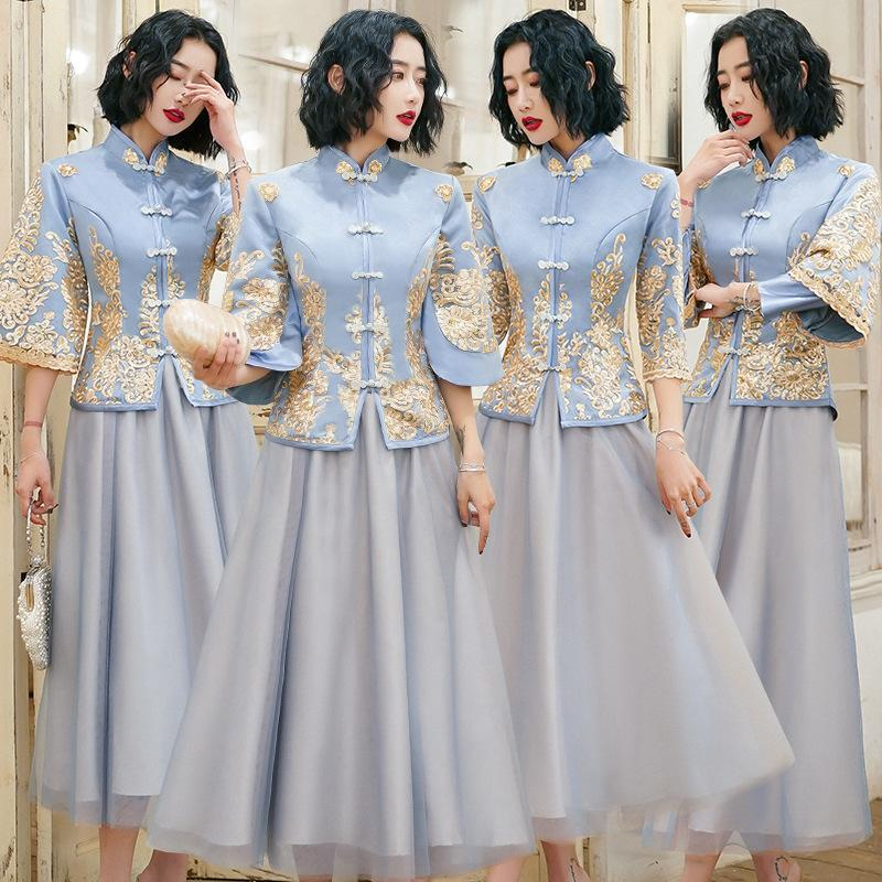Vintage Women Evening Party Gown Chinese Bridesmaid Wedding Dress Elegant Lace Flower Cheongsam Classic Stage Show Vestidos 3XL Ethnic Cloth