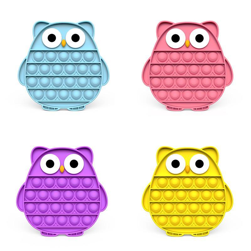 for among us fans The latest Multicolor Fidget it pop Toy Sensory Pushs Bubble Board Game Toys Anxiety Stress Reliever Kids Adults Autism Special Needs games Owl Style