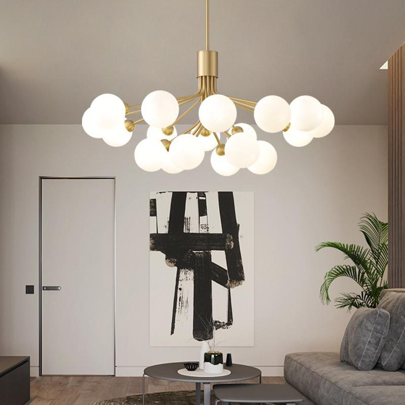 Chandeliers Nordic Led Lighting Black/Gold Living Room Kitchen Lamp Magic Bean Glass Ceiling Chandelier For Bedroom Luminarias