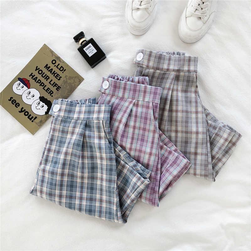 Летний корейский стиль Свободные решетки Шорты Slim All-Match Повседневная Женская Студент Мода Женщины
