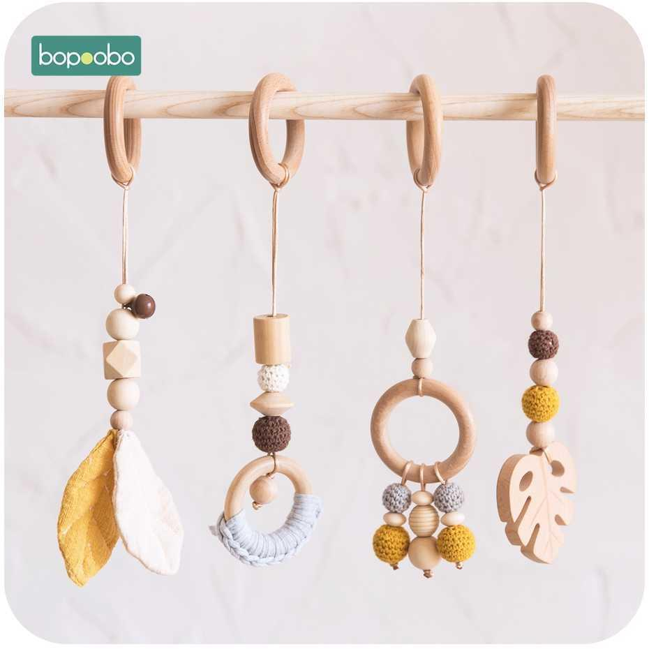 Bopoobo-Kette Kaubares Armband Mobile Holz Beißringblatt-Rasselspielzeug Kauen BPA-freie Baby-Zahnen-Geschenke