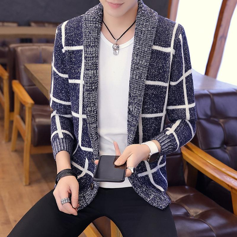 Sweaters Automne 2021 Loisirs coréen Slim Fit Cashmere Cocher Pull Cardigan Hommes KS875