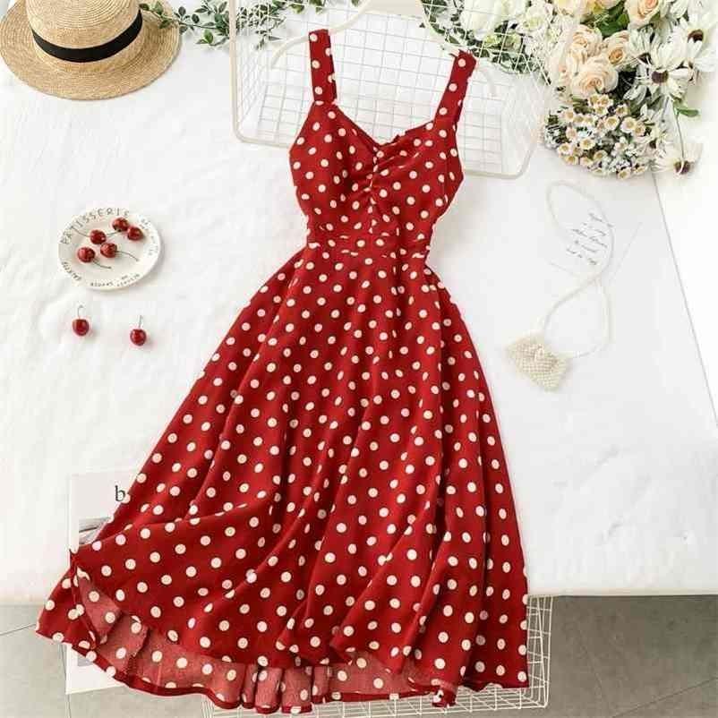 Frauen Vintage Punktdruck Kleid Vestidos Mujer Sommer Sleeveless Spaghetti Rote A-Linie Kleider Damen Strand Lange Robe 210602