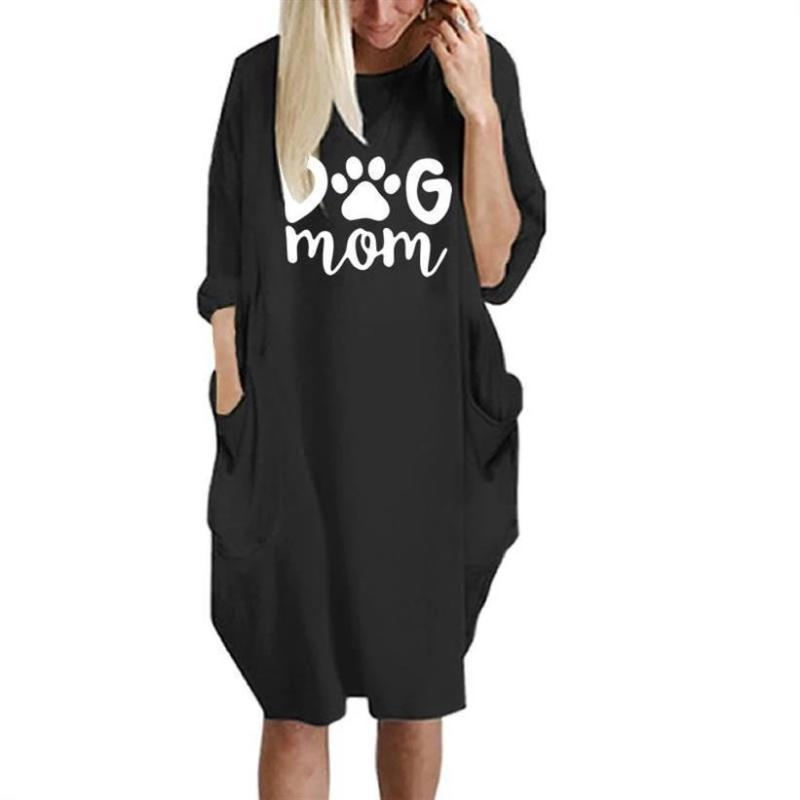 Plus Size Dresses 2021 Fashion T-Shirt For Women Pocket Dog Mom Lover Print Tshirt Tops Graphic Tees Off The Shoulder S-6XL