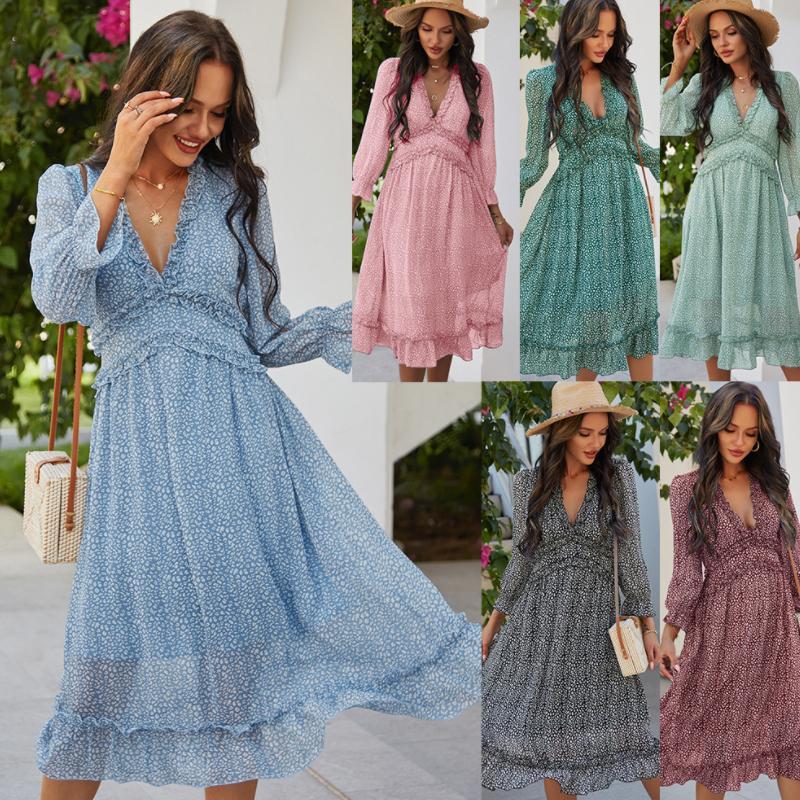 2021 Frauen Luxurys Designer Kleider Abend Party Tragen Langarm Sexy V-ausschnitt Strandkleid Lose Sommergut Damen Kleidung Blumendruck Rüschen Hemd